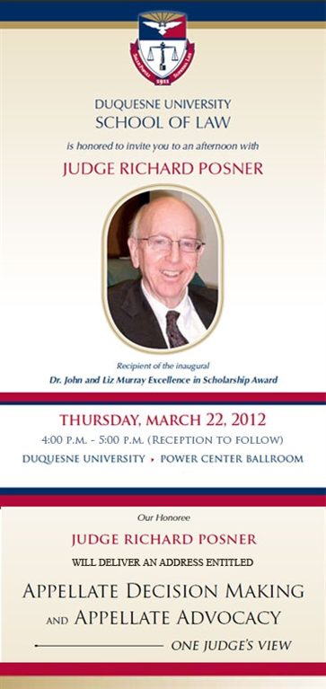 Upcoming Event: An Afternoon with Judge Posner